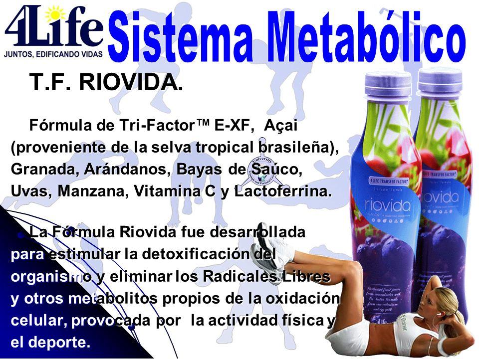 T.F. RIOVIDA. Fórmula de Tri-Factor E-XF, Açai (proveniente de la selva tropical brasileña), Granada, Arándanos, Bayas de Saúco, Uvas, Manzana, Vitami