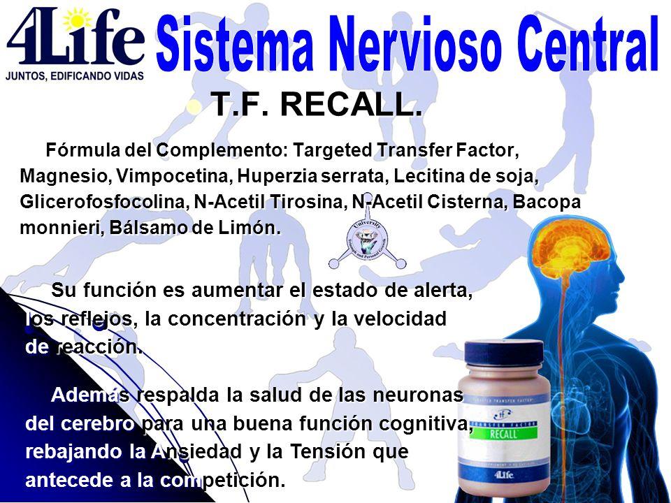 T.F. RECALL. T.F. RECALL. Fórmula del Complemento: Targeted Transfer Factor, Magnesio, Vimpocetina, Huperzia serrata, Lecitina de soja, Glicerofosfoco