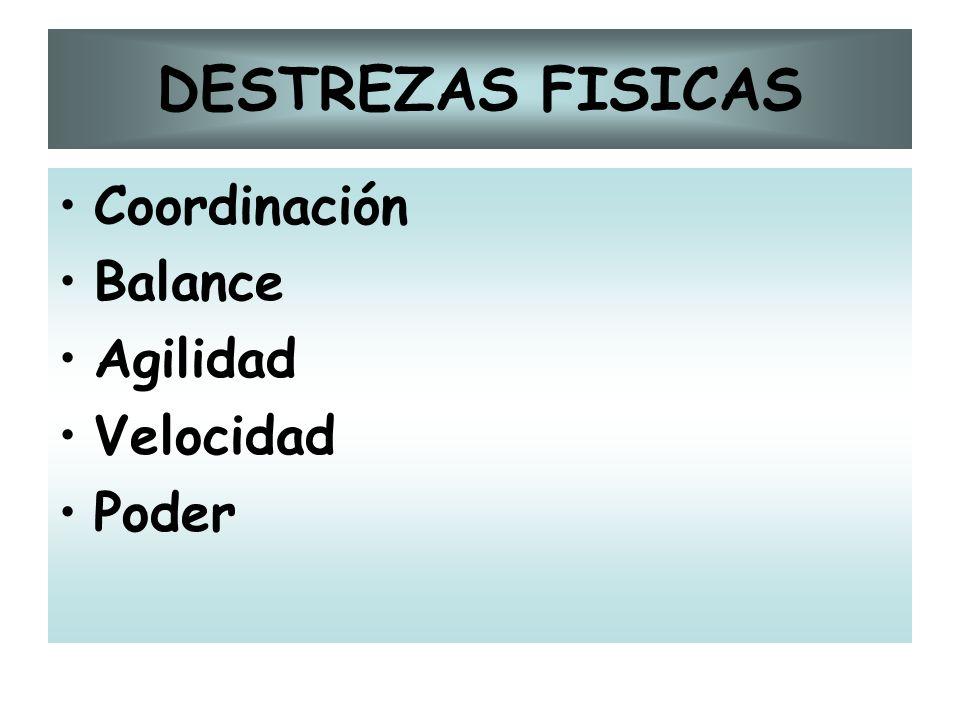 DESTREZAS FISICAS Coordinación Balance Agilidad Velocidad Poder