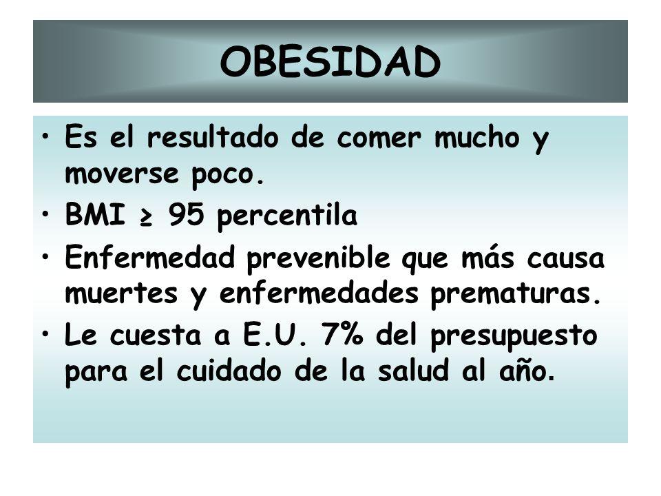 OBESIDAD Es el resultado de comer mucho y moverse poco. BMI 95 percentila Enfermedad prevenible que más causa muertes y enfermedades prematuras. Le cu