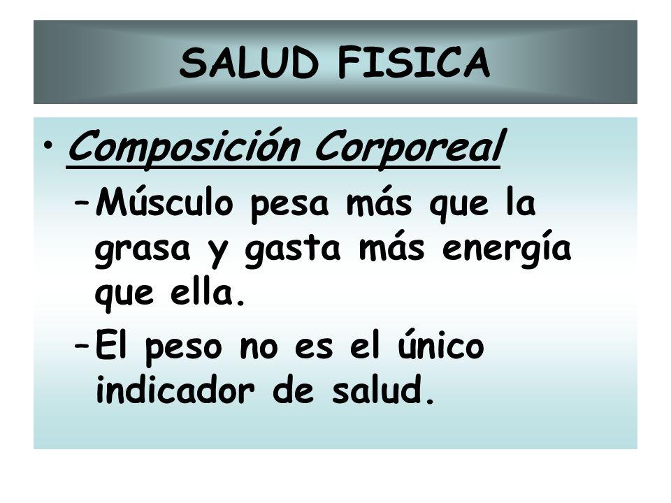SALUD FISICA Composición Corporeal –Músculo pesa más que la grasa y gasta más energía que ella. –El peso no es el único indicador de salud.