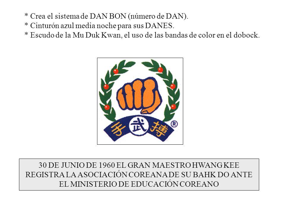 30 DE JUNIO DE 1960 EL GRAN MAESTRO HWANG KEE REGISTRA LA ASOCIACIÓN COREANA DE SU BAHK DO ANTE EL MINISTERIO DE EDUCACIÓN COREANO * Crea el sistema d
