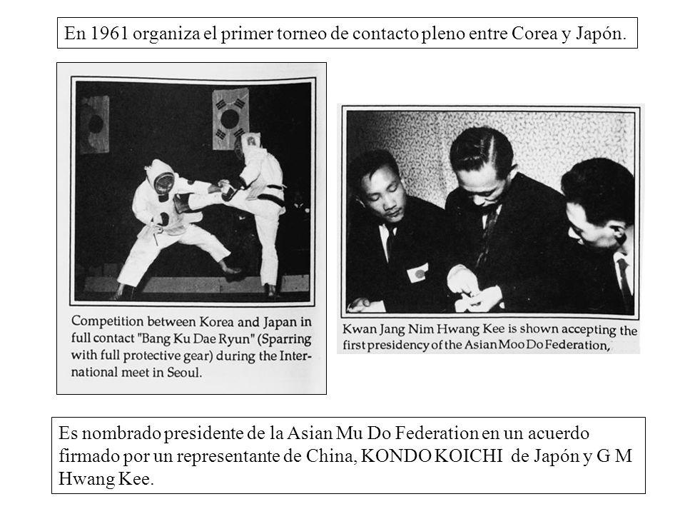 En 1961 organiza el primer torneo de contacto pleno entre Corea y Japón. Es nombrado presidente de la Asian Mu Do Federation en un acuerdo firmado por