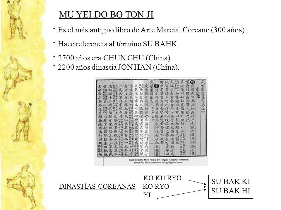 MU YEI DO BO TON JI * Es el más antiguo libro de Arte Marcial Coreano (300 años). * Hace referencia al término SU BAHK. * 2700 años era CHUN CHU (Chin