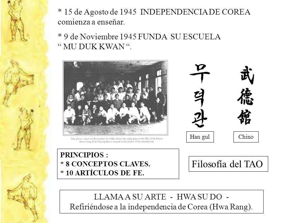 * 15 de Agosto de 1945 INDEPENDENCIA DE COREA comienza a enseñar. * 9 de Noviembre 1945 FUNDA SU ESCUELA MU DUK KWAN. Han gulChino Filosofía del TAO P