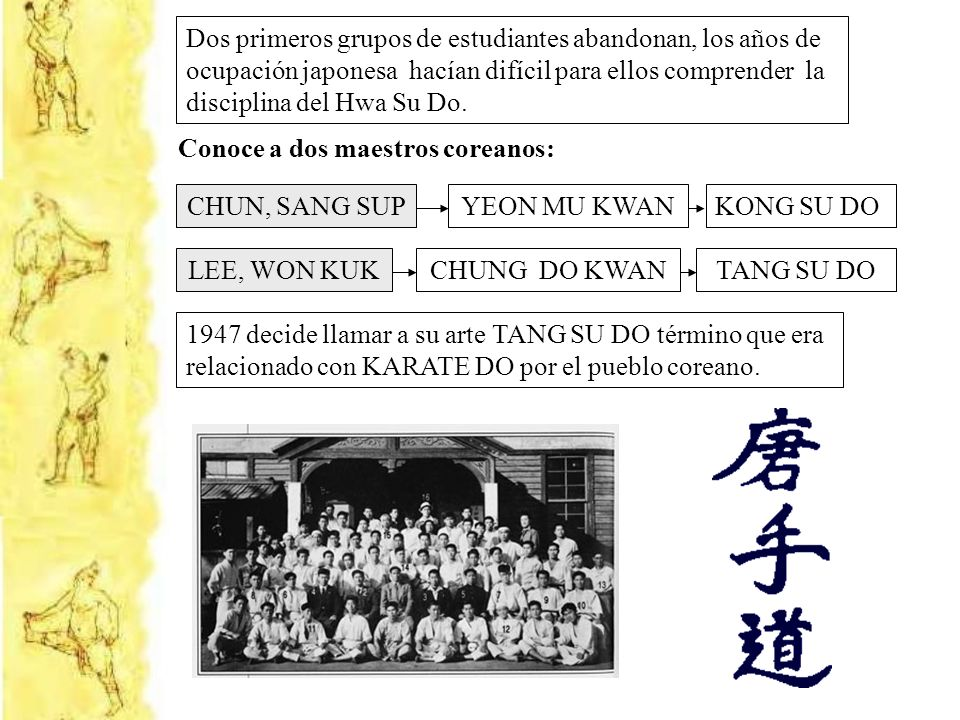Dos primeros grupos de estudiantes abandonan, los años de ocupación japonesa hacían difícil para ellos comprender la disciplina del Hwa Su Do. Conoce