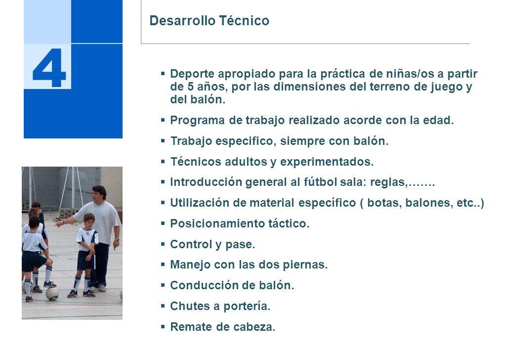 4 Desarrollo Técnico Deporte apropiado para la práctica de niñas/os a partir de 5 años, por las dimensiones del terreno de juego y del balón. Programa