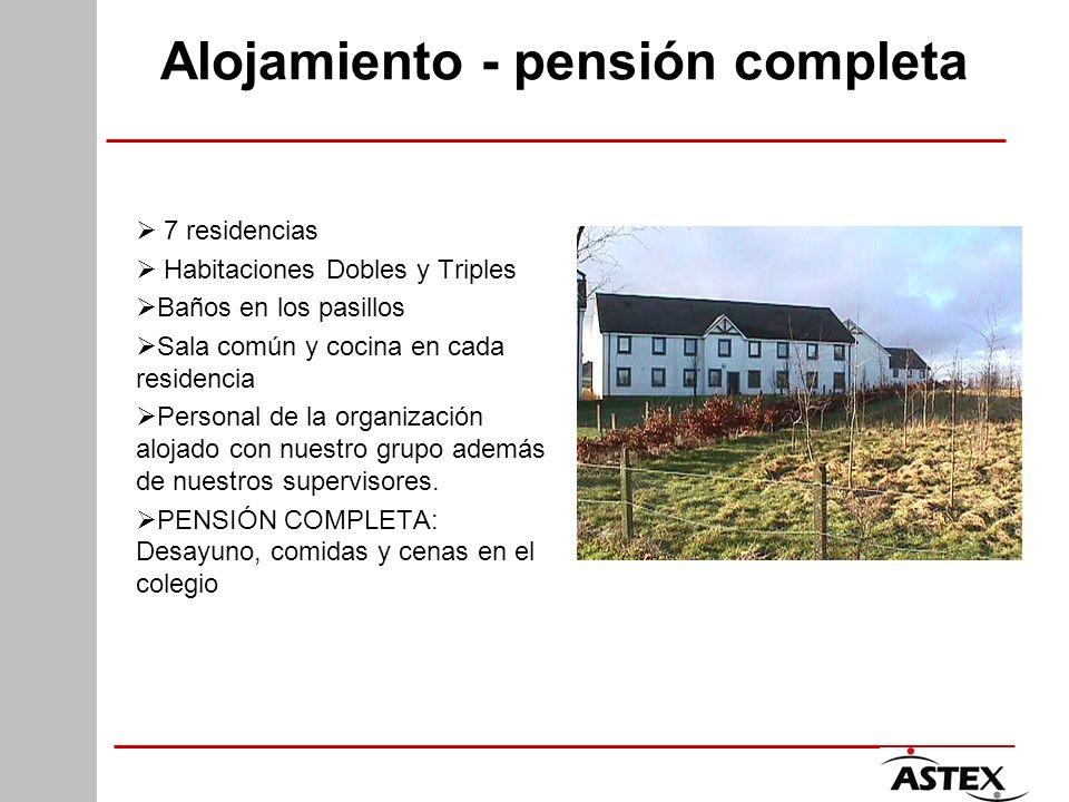 Alojamiento - pensión completa 7 residencias Habitaciones Dobles y Triples Baños en los pasillos Sala común y cocina en cada residencia Personal de la