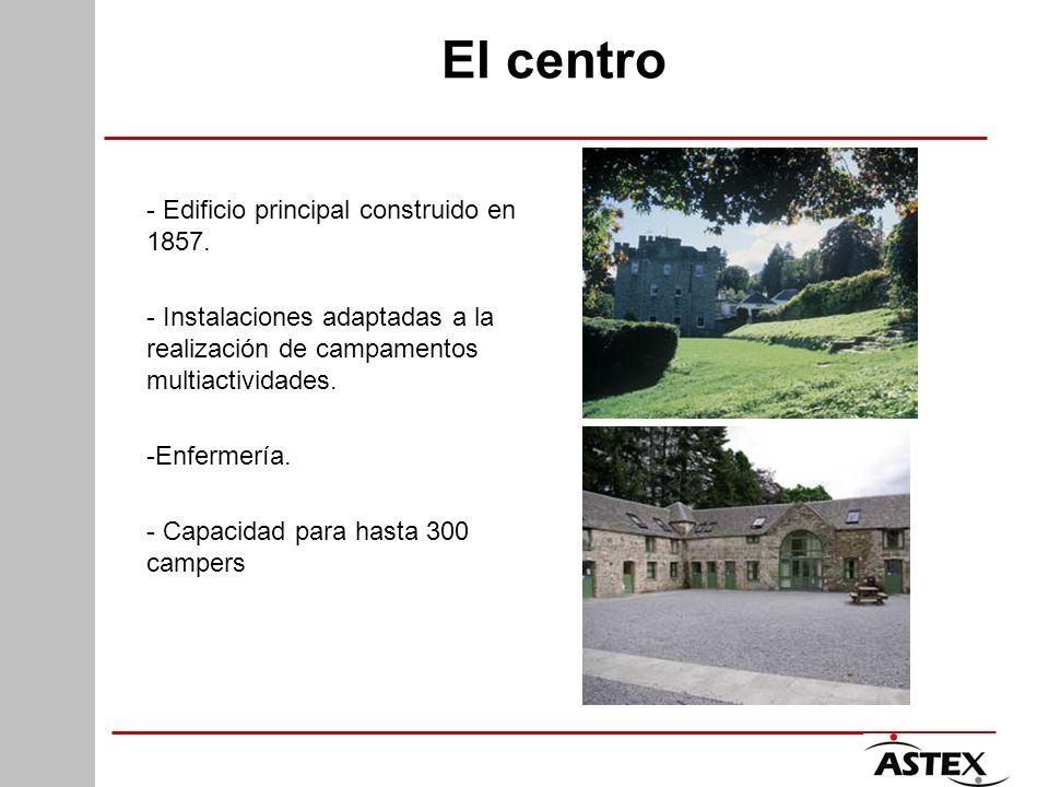 El centro - Edificio principal construido en 1857. - Instalaciones adaptadas a la realización de campamentos multiactividades. -Enfermería. - Capacida
