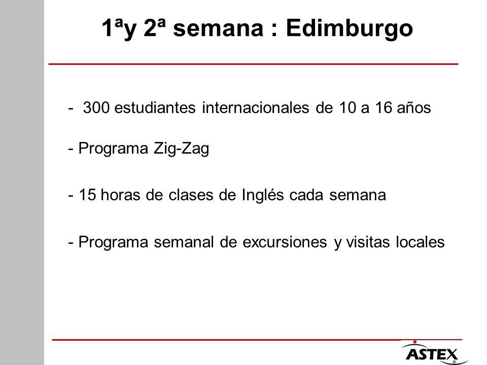1ªy 2ª semana : Edimburgo - 300 estudiantes internacionales de 10 a 16 años - Programa Zig-Zag - 15 horas de clases de Inglés cada semana - Programa s