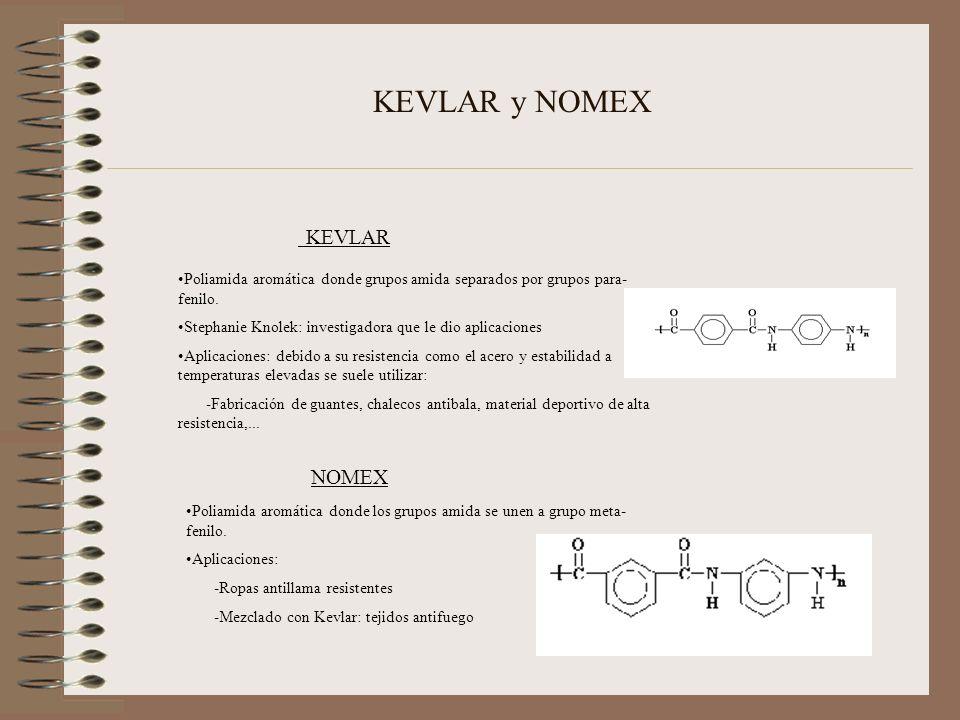 KEVLAR y NOMEX Poliamida aromática donde grupos amida separados por grupos para- fenilo. Stephanie Knolek: investigadora que le dio aplicaciones Aplic