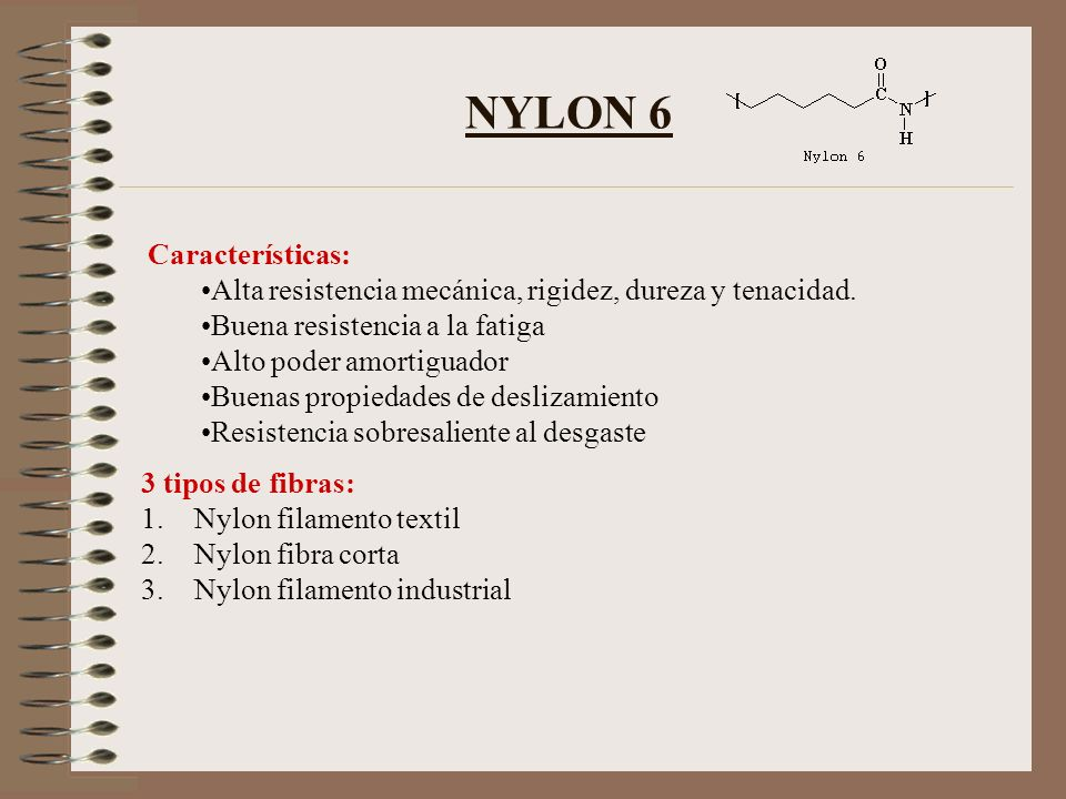 NYLON 6.6 Características: No lo atacan las bacterias, los hongos ni las polillas Inerte a las productos químicos corrosivos; excepto a los ácidos minerales calientes.