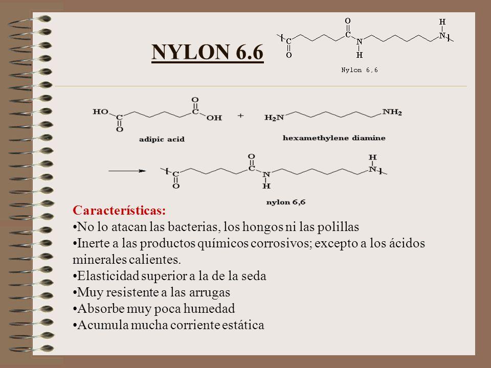 NYLON 6.6 Características: No lo atacan las bacterias, los hongos ni las polillas Inerte a las productos químicos corrosivos; excepto a los ácidos min