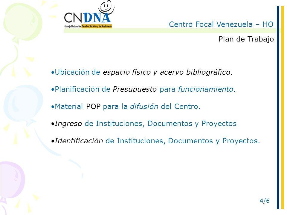 Centro Focal Venezuela – HO 4/6 Plan de Trabajo Ubicación de espacio físico y acervo bibliográfico.
