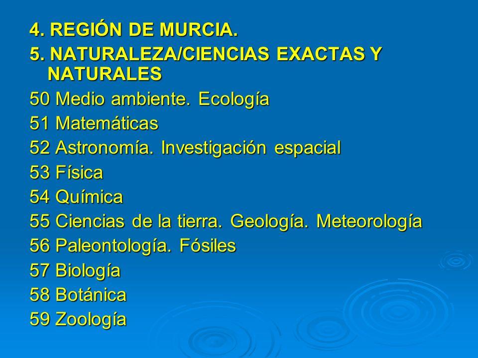 4. REGIÓN DE MURCIA. 5. NATURALEZA/CIENCIAS EXACTAS Y NATURALES 50 Medio ambiente. Ecología 51 Matemáticas 52 Astronomía. Investigación espacial 53 Fí
