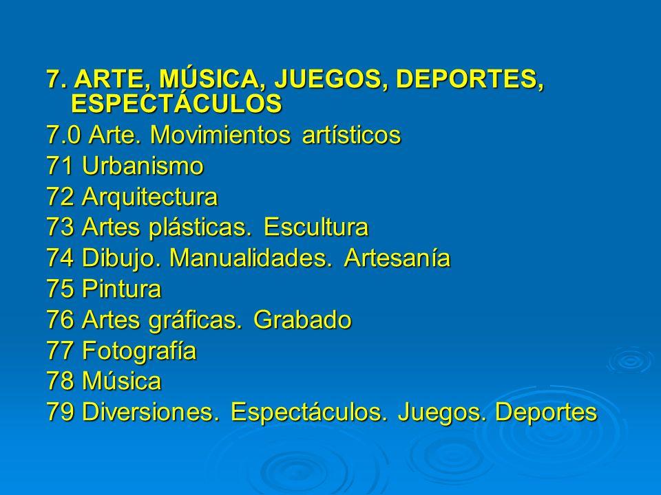 7. ARTE, MÚSICA, JUEGOS, DEPORTES, ESPECTÁCULOS 7.0 Arte. Movimientos artísticos 71 Urbanismo 72 Arquitectura 73 Artes plásticas. Escultura 74 Dibujo.