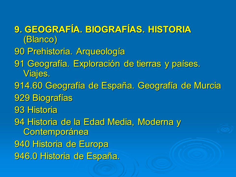 9. GEOGRAFÍA. BIOGRAFÍAS. HISTORIA (Blanco) 90 Prehistoria. Arqueología 91 Geografía. Exploración de tierras y países. Viajes. 914.60 Geografía de Esp