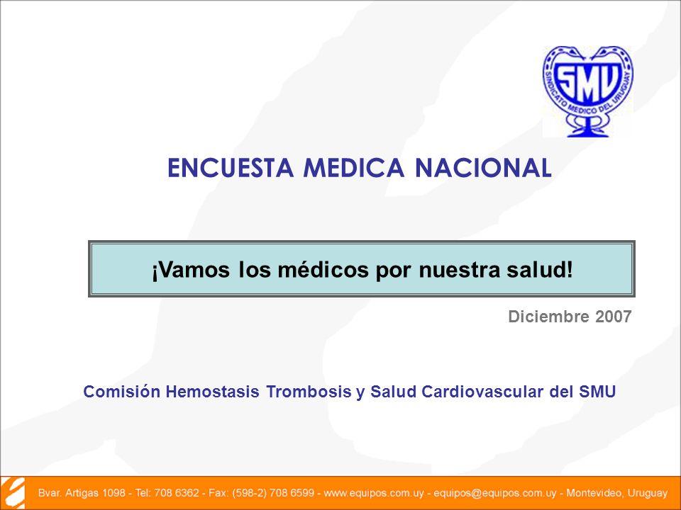 ENCUESTA MEDICA NACIONAL Diciembre 2007 ¡Vamos los médicos por nuestra salud.