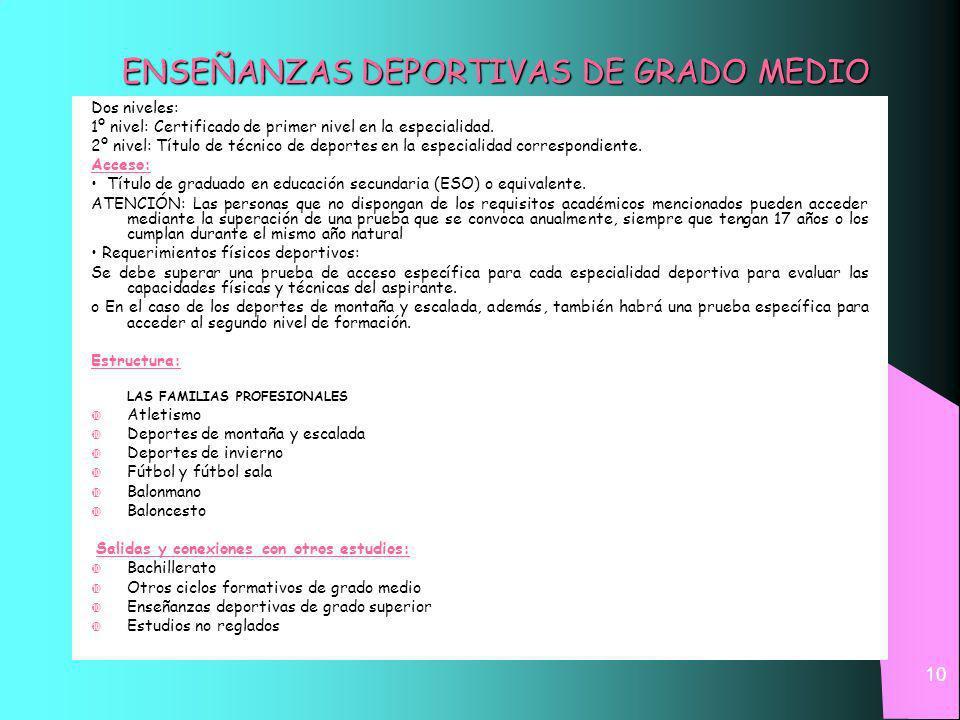 10 ENSEÑANZAS DEPORTIVAS DE GRADO MEDIO Dos niveles: 1º nivel: Certificado de primer nivel en la especialidad.