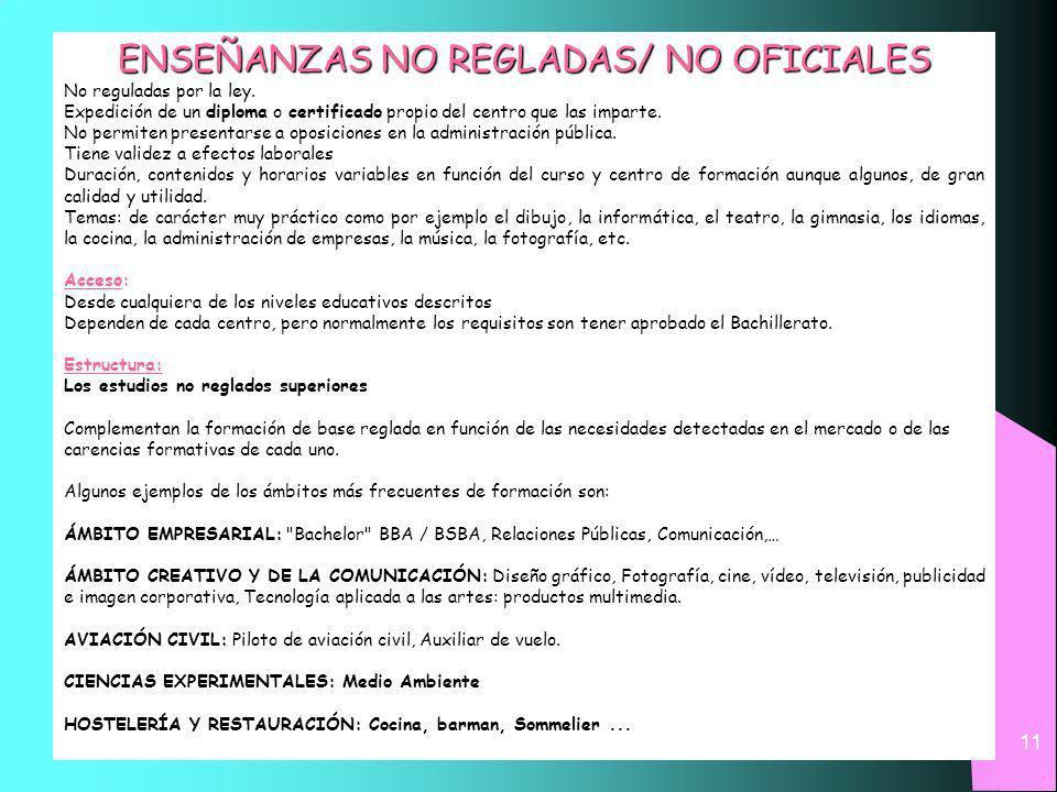 11 ENSEÑANZAS NO REGLADAS/ NO OFICIALES No reguladas por la ley.
