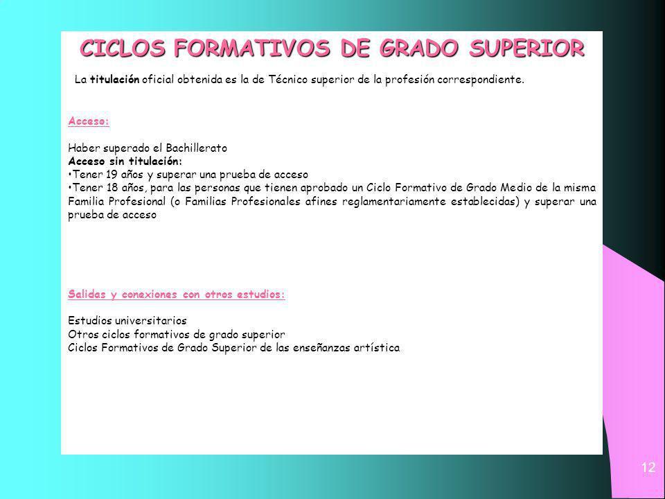 12 CICLOS FORMATIVOS DE GRADO SUPERIOR La titulación oficial obtenida es la de Técnico superior de la profesión correspondiente.