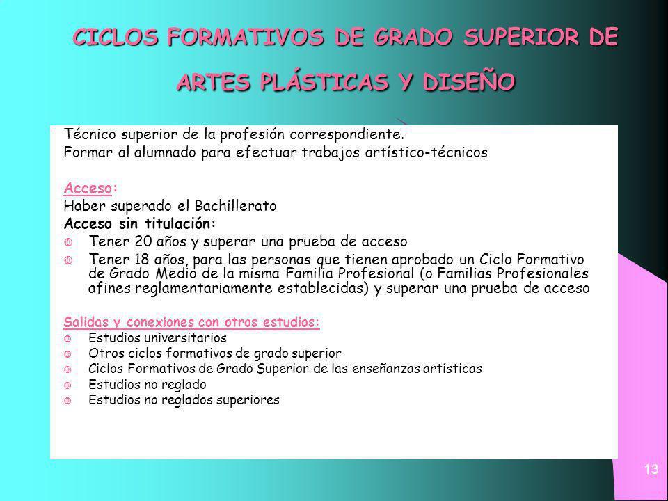 13 CICLOS FORMATIVOS DE GRADO SUPERIOR DE ARTES PLÁSTICAS Y DISEÑO Técnico superior de la profesión correspondiente.