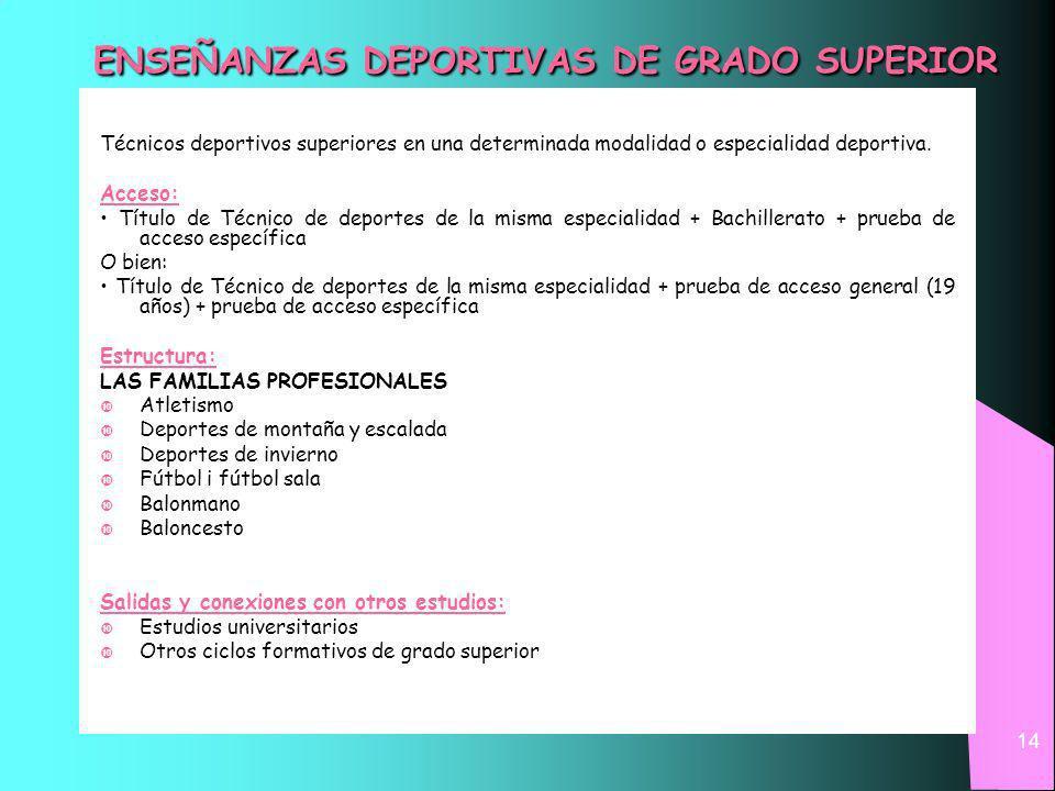 14 ENSEÑANZAS DEPORTIVAS DE GRADO SUPERIOR Técnicos deportivos superiores en una determinada modalidad o especialidad deportiva.