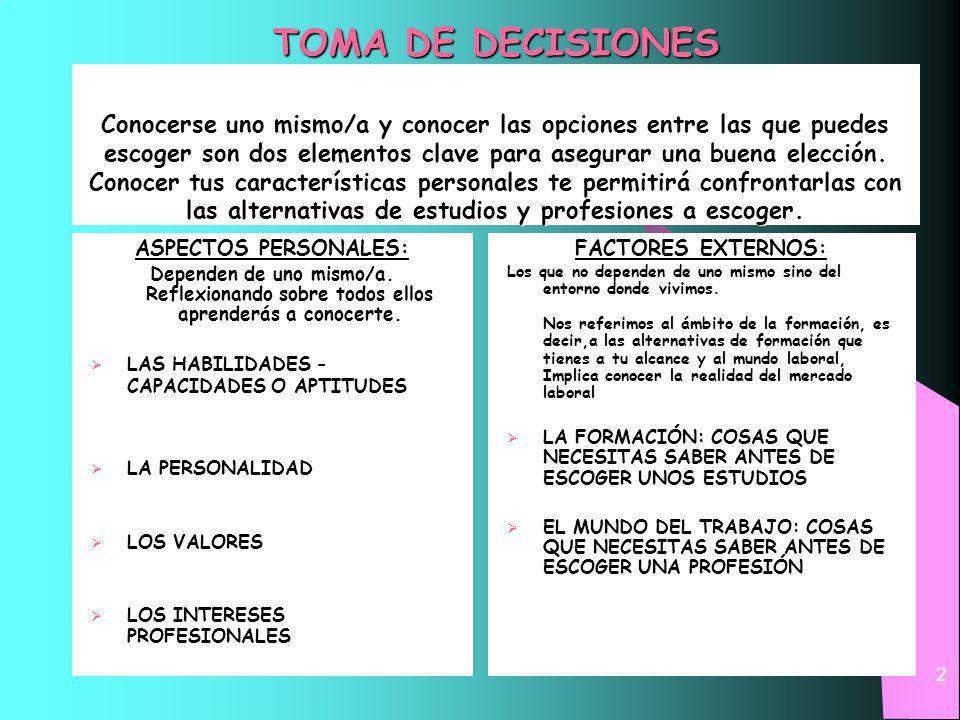2 TOMA DE DECISIONES Conocerse uno mismo/a y conocer las opciones entre las que puedes escoger son dos elementos clave para asegurar una buena elección.