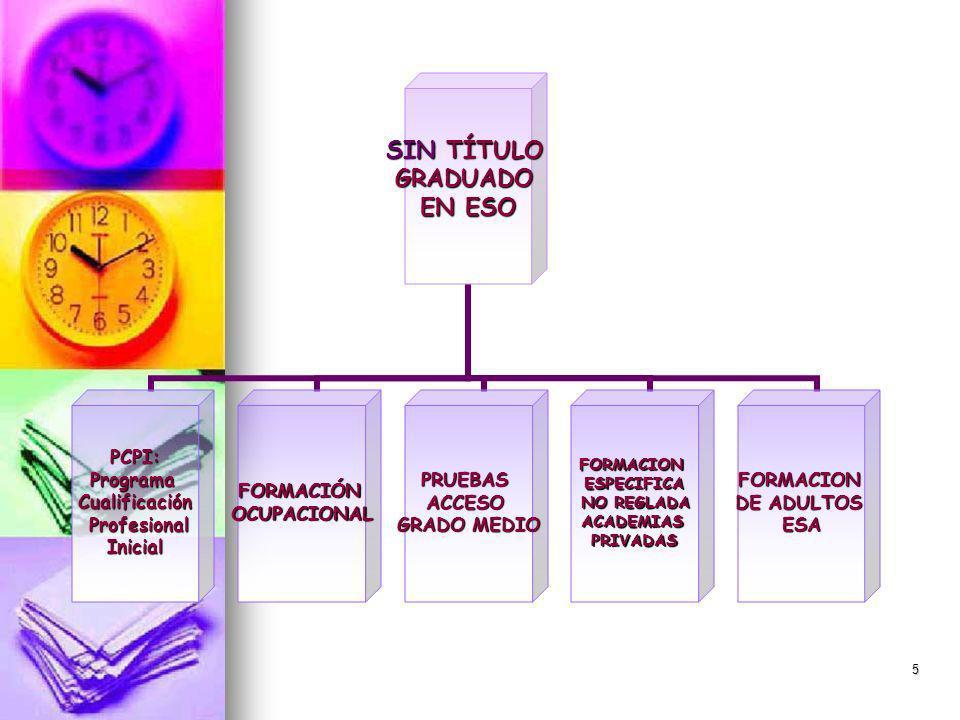 5 SIN TÍTULO GRADUADO EN ESO PCPI:ProgramaCualificación Profesional ProfesionalInicialFORMACIÓNOCUPACIONALPRUEBASACCESO GRADO MEDIO FORMACIONESPECIFICA NO REGLADA NO REGLADAACADEMIASPRIVADASFORMACION DE ADULTOS ESA
