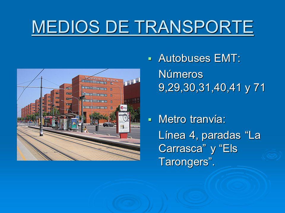 MEDIOS DE TRANSPORTE Autobuses EMT: Autobuses EMT: Números 9,29,30,31,40,41 y 71 Metro tranvía: Metro tranvía: Línea 4, paradas La Carrasca y Els Taro