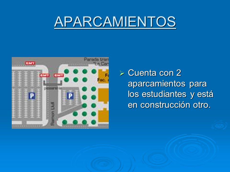 APARCAMIENTOS Cuenta con 2 aparcamientos para los estudiantes y está en construcción otro. Cuenta con 2 aparcamientos para los estudiantes y está en c