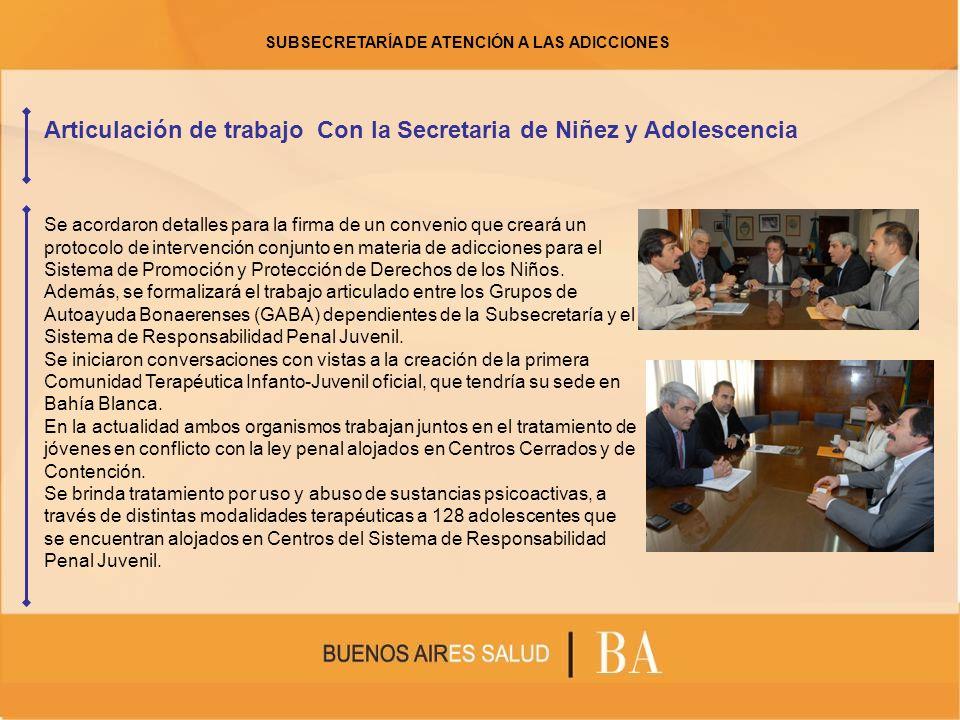 Articulación de trabajo Con la Secretaria de Niñez y Adolescencia Se acordaron detalles para la firma de un convenio que creará un protocolo de intervención conjunto en materia de adicciones para el Sistema de Promoción y Protección de Derechos de los Niños.