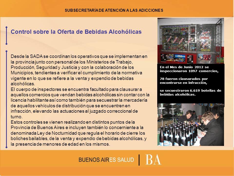 Control sobre la Oferta de Bebidas Alcohólicas En el Mes de Junio 2012 se inspeccionaron 1097 comercios, 78 fueron clausurados por encontrarse en infr
