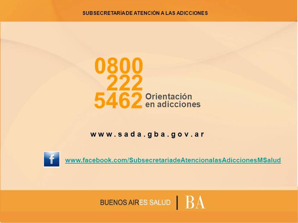 0800 222 5462 Orientación en adicciones w w w. s a d a. g b a. g o v. a r www.facebook.com/SubsecretariadeAtencionalasAdiccionesMSalud SUBSECRETARÍA D