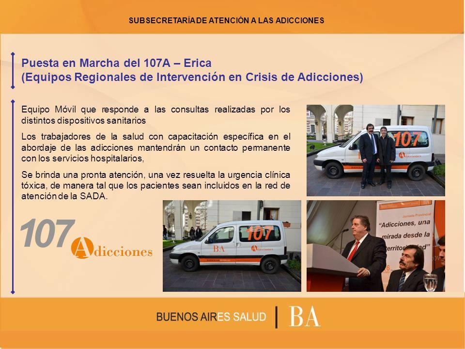 Puesta en Marcha del 107A – Erica (Equipos Regionales de Intervención en Crisis de Adicciones) Equipo Móvil que responde a las consultas realizadas po