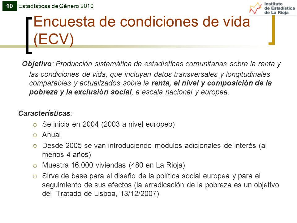 Encuesta de condiciones de vida (ECV) Objetivo: Producción sistemática de estadísticas comunitarias sobre la renta y las condiciones de vida, que incl