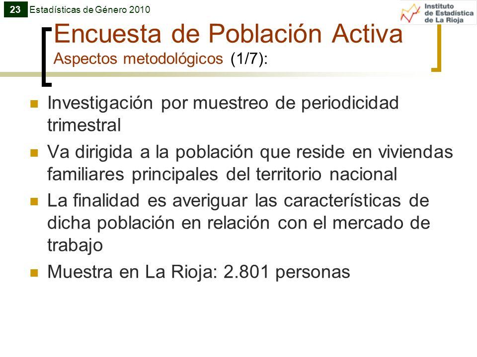 Encuesta de Población Activa Aspectos metodológicos (1/7): Investigación por muestreo de periodicidad trimestral Va dirigida a la población que reside