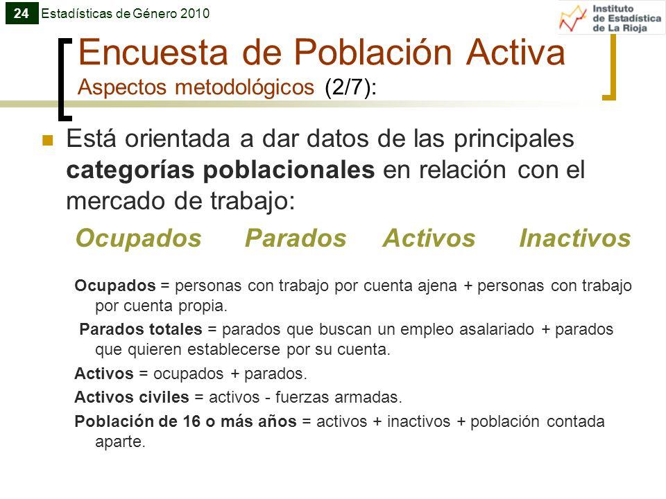 Encuesta de Población Activa Aspectos metodológicos (2/7): Está orientada a dar datos de las principales categorías poblacionales en relación con el m