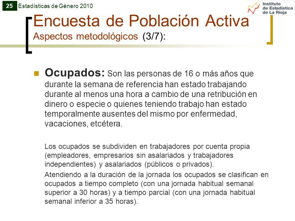 Encuesta de Población Activa Aspectos metodológicos (3/7): Ocupados: Son las personas de 16 o más años que durante la semana de referencia han estado