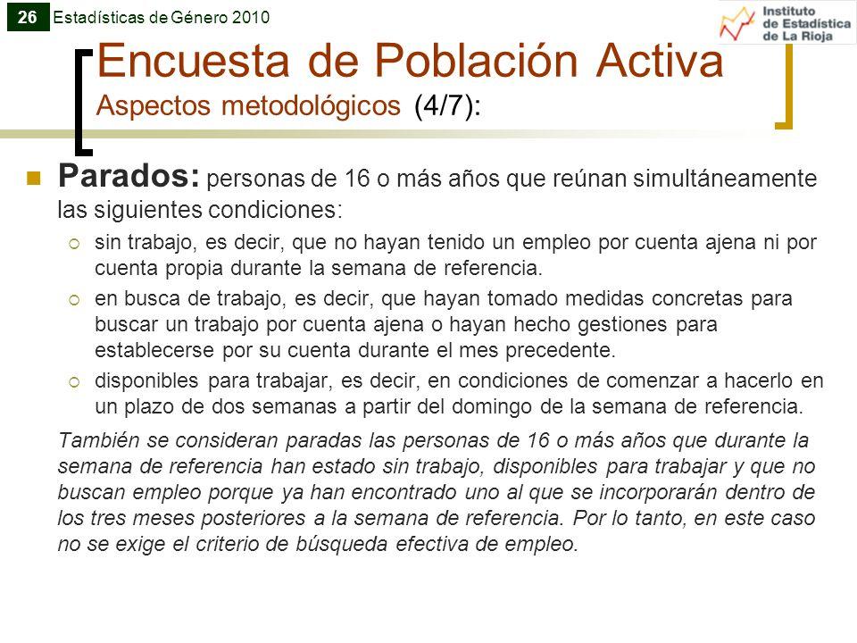 Encuesta de Población Activa Aspectos metodológicos (4/7): Parados: personas de 16 o más años que reúnan simultáneamente las siguientes condiciones: s