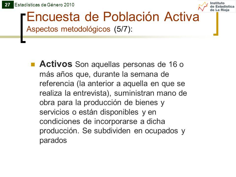 Encuesta de Población Activa Aspectos metodológicos (5/7): Activos Son aquellas personas de 16 o más años que, durante la semana de referencia (la ant