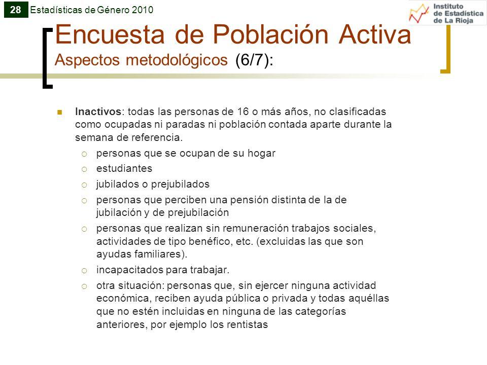 Encuesta de Población Activa Aspectos metodológicos (6/7): Inactivos: todas las personas de 16 o más años, no clasificadas como ocupadas ni paradas ni