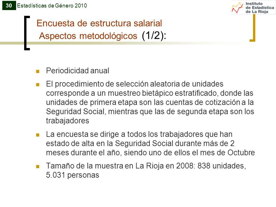 Encuesta de estructura salarial Aspectos metodológicos (1/2): Periodicidad anual El procedimiento de selección aleatoria de unidades corresponde a un
