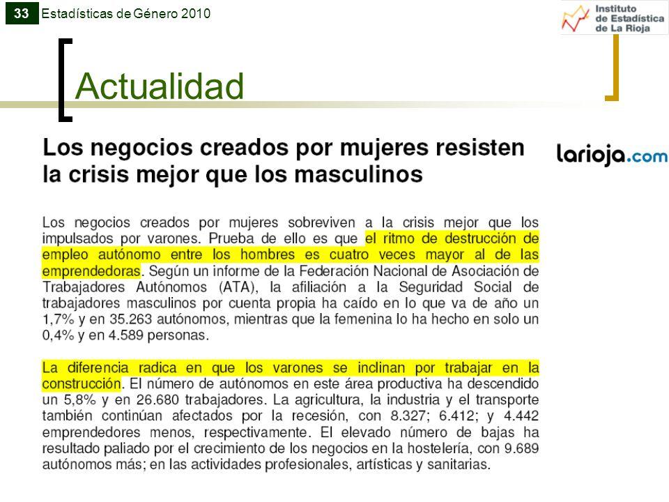 Actualidad 33Estadísticas de Género 2010