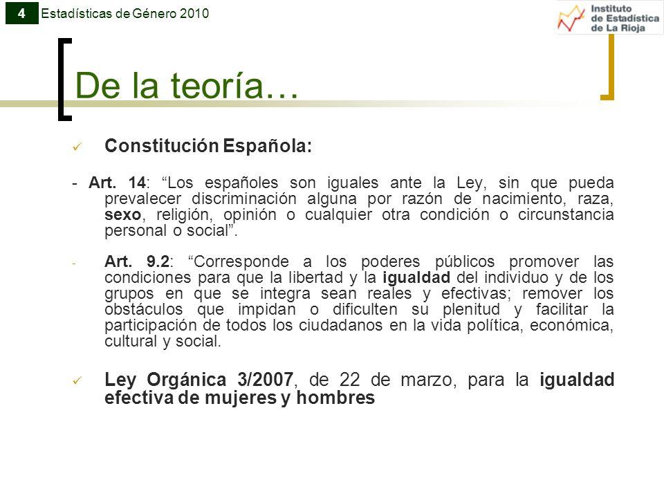 De la teoría… Constitución Española: - Art. 14: Los españoles son iguales ante la Ley, sin que pueda prevalecer discriminación alguna por razón de nac