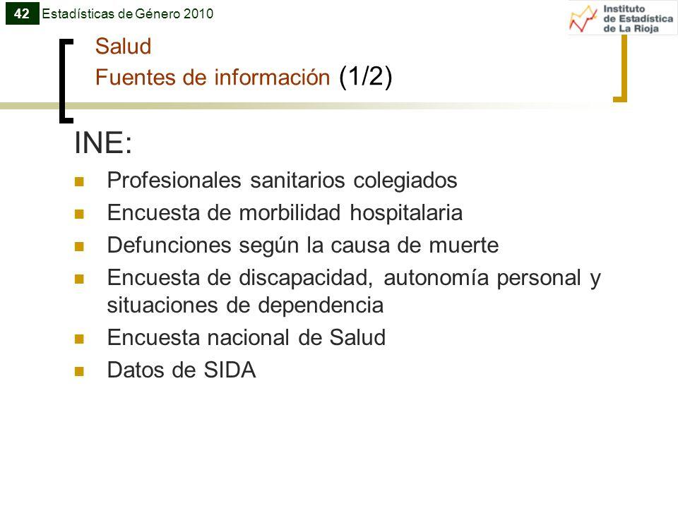 Salud Fuentes de información (1/2) INE: Profesionales sanitarios colegiados Encuesta de morbilidad hospitalaria Defunciones según la causa de muerte E