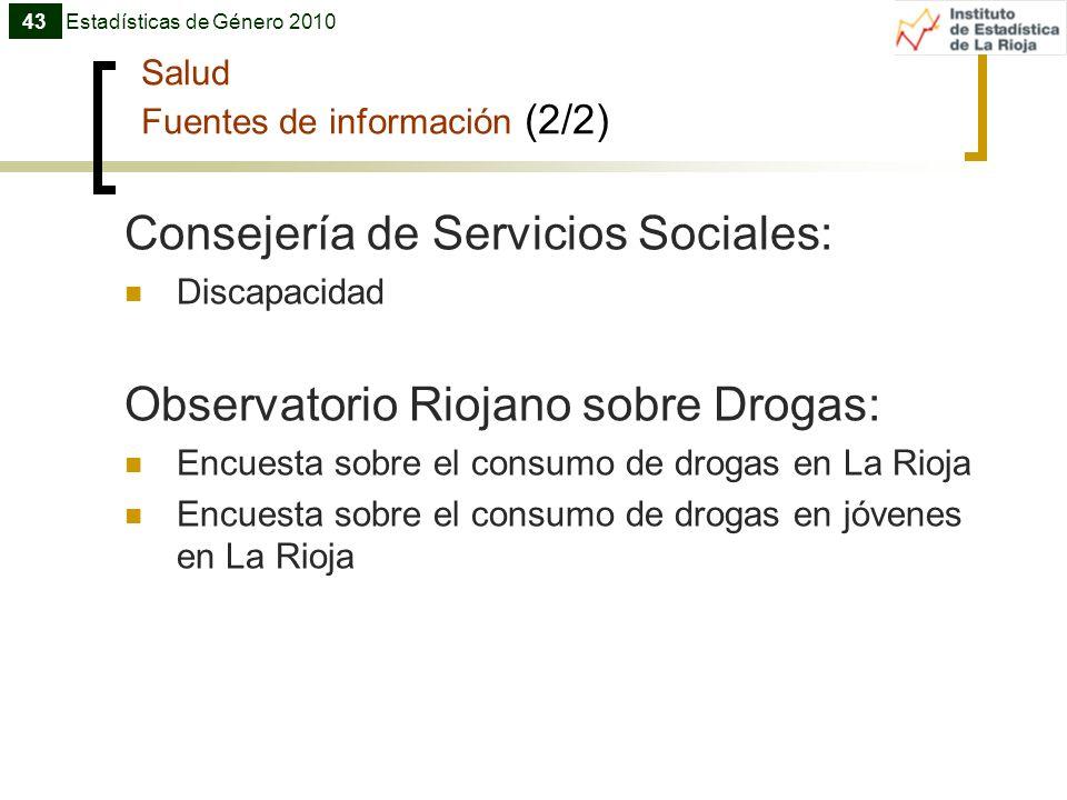 Salud Fuentes de información (2/2) Consejería de Servicios Sociales: Discapacidad Observatorio Riojano sobre Drogas: Encuesta sobre el consumo de drog