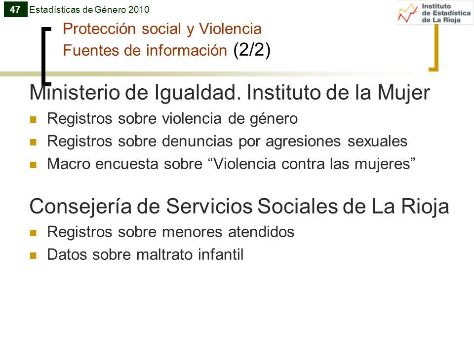 Protección social y Violencia Fuentes de información (2/2) Ministerio de Igualdad. Instituto de la Mujer Registros sobre violencia de género Registros