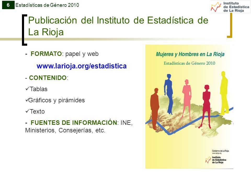 Publicación del Instituto de Estadística de La Rioja Estadísticas de Género 20106 - FORMATO: papel y web www.larioja.org/estadistica - CONTENIDO: Tabl