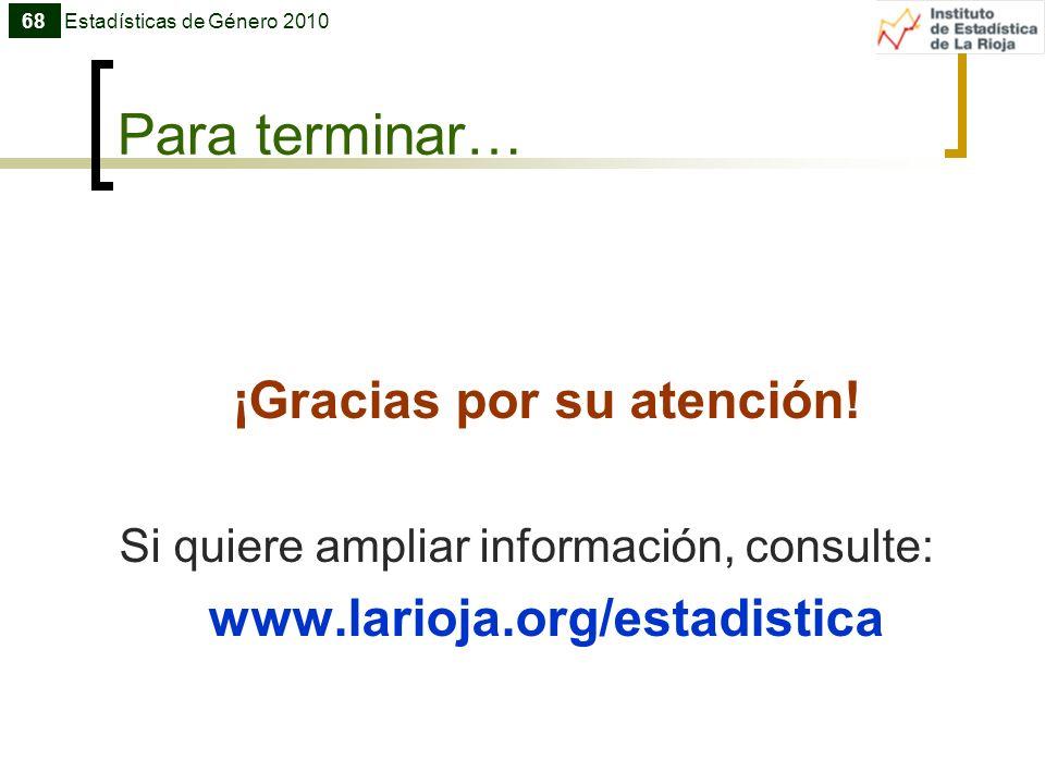 Para terminar… ¡Gracias por su atención! Si quiere ampliar información, consulte: www.larioja.org/estadistica 68Estadísticas de Género 2010